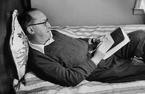 Nabokov writing on an index card.