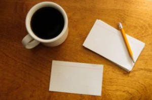 All you need are some index cards, a pencil, and a cup of coffee.