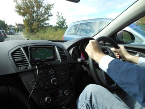 Me driving on the A27/Eastbourne Road on the southern coast of England. Photo by Alexas Orcutt.
