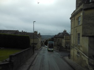 Just a sample of the *narrow* roads you'll encounter in the UK. This picture was taken on the 2nd floor of a bus as we drove into Bath, England. And this road was *wide* compared to some we traveled!
