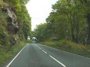 A section of the A82 along Loch Ness—narrow, twisty and precarious.