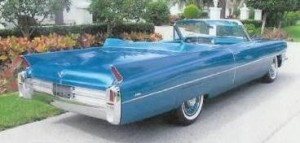 An actual sky-blue 1963 Cadillac convertible. I didn't know there was such a thing when I wrote it down.