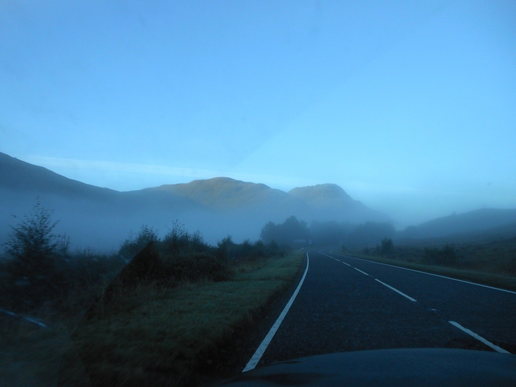 In celebration of Bond Day, I head out to pick up Jason by driving on the left side of the road. (Just kidding. This photo was taken by Alexas when I was driving us through Scotland in Sept. 2013.)